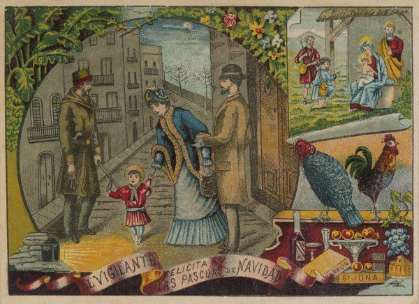 A card given out by a Spanish night watchman, which shows how he helps to keep the public safe. He hopes that this piece of publicity with earn him a Christmas 'box&#39