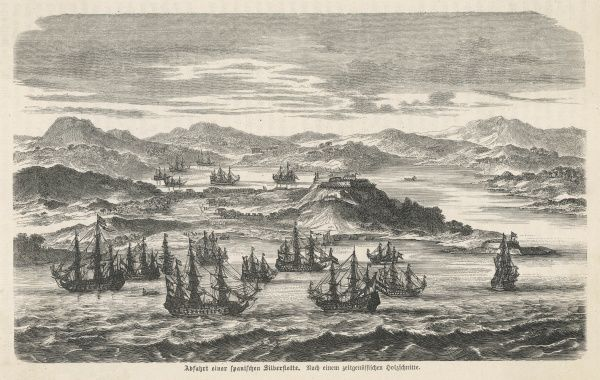 The sailing of a Spanish silver fleet from America with loot for home