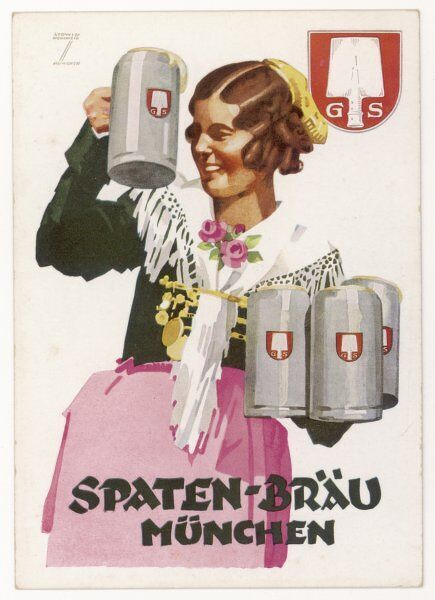 A waitress brings four seidels of frothy Spaten-Brau