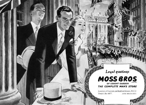 A Moss Bros advertisement commemorating the coronation, featuring two smartly dressed gentlemen and a lady viewing the coronation procession from a balcony. Date: 1953