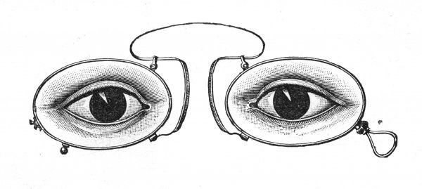 Isometrope-Augenglaser - isometric eyeglasses, whose purpose is not immediately apparent to me, but it's a striking image... Date: 1900