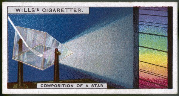A star's light refracted through a prism indicates its chemical composition