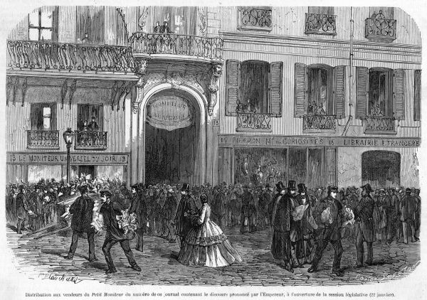 Napoleon's speech at the opening of the Corps Legislatif is reported by the Petit Moniteur : crowds gather to buy it