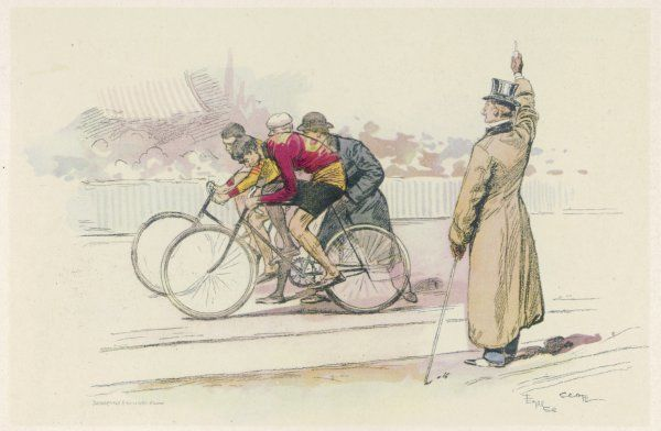 The start of a speed contest at the Velodrome de la Seine, Paris - a gent in a top hat gives the starting signal