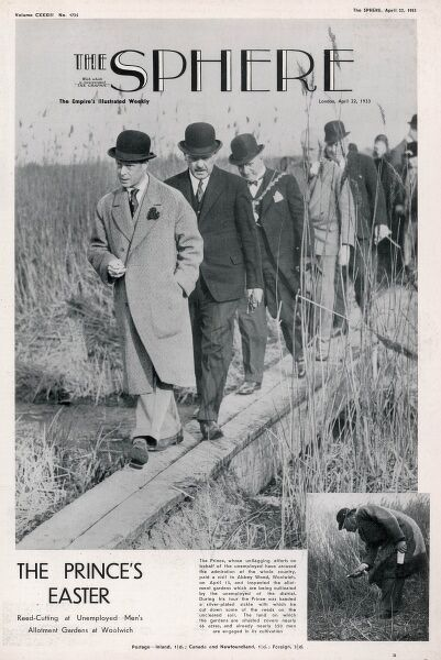 Front cover from The Sphere, April 1933, showing Edward, Prince of Wales, later King Edward VIII and Duke of Windsor (1894-1972) inspecting the allotment gardens at Woolwich of the unemployed. Date: 22nd April 1933