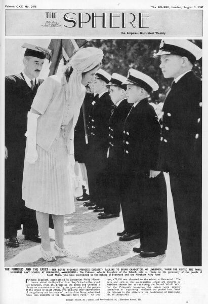 Front cover from The Sphere of Princess Elizabeth talking to the cadets at The Royal Merchant Navy School, Bearwood, Wokingham