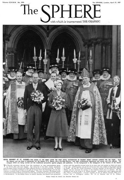 Royal Maundy at St. Albans Abbey. The Queen, accompanied by Prince Philip, Duke of Edinburgh, attends the first royal distribution of Maundy money outside London in 300 years. They are pictured with the Bishop of St Albans and other ecclesiastical dignitaries