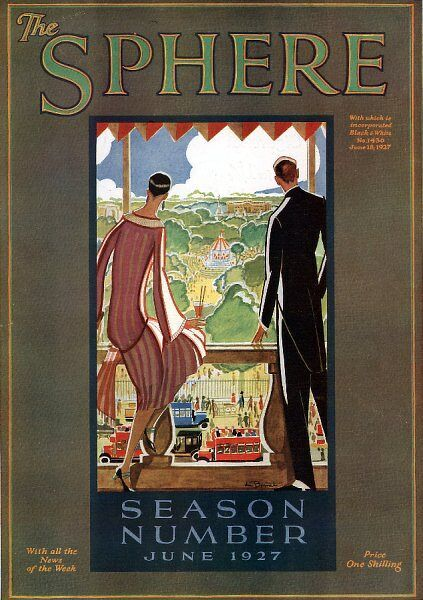 A front cover illustration showing a stylish couple overlooking a busy London park from their balcony