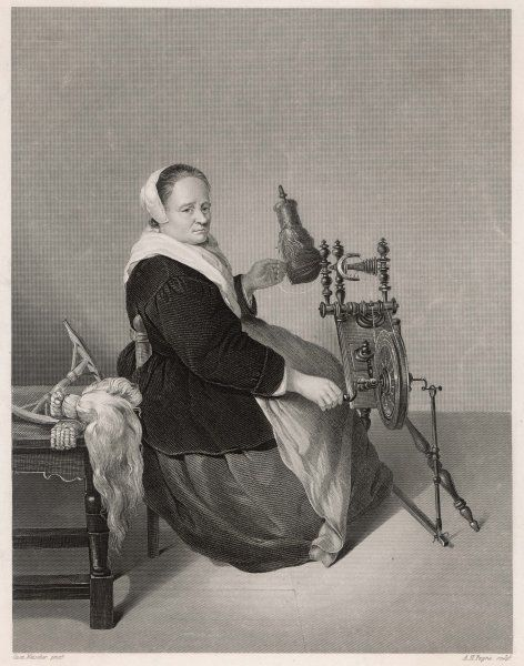 a Flemish housewife at her elaborate and elegant spinning wheel