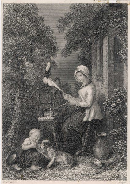A Scots wife sits at her spinning wheel outside the cottage door, while her child plays with the dog