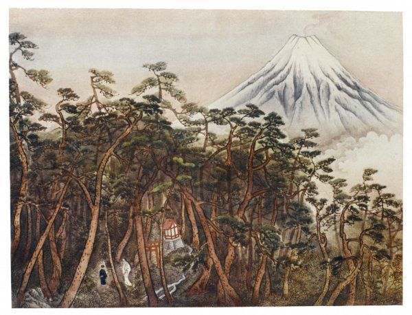 The Spirit of Mount Fuji shows Yosoji the health-giving stream which will cure his mother's smallpox