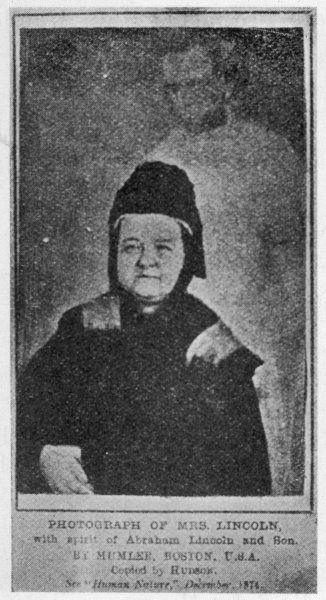 Photo by William Mumler, showing Mrs Lincoln with the spirit of her husband, Abraham Lincoln