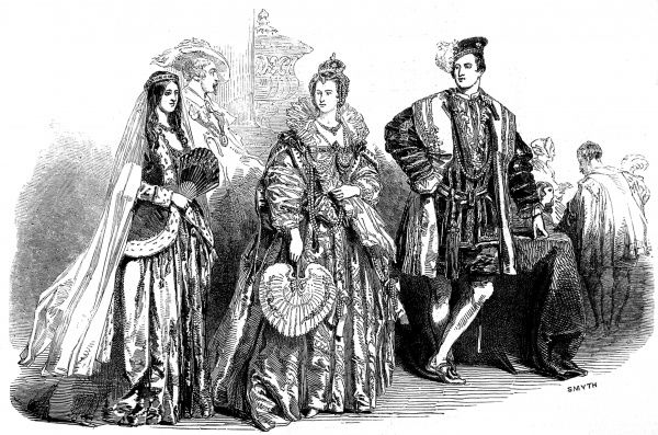 Costumes on show at the ball for the Spitalfields School of Design. From left: Lady Adeliza Fitzalan Howard as Queen Adeliza of Louvaine, The Hon, Miss Campbell, Queen Elizabeth and Mr Graham Vivian, Earl of Surrey