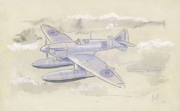 A sketch of the successful Royal Airforce fighter plane converted for landing on water