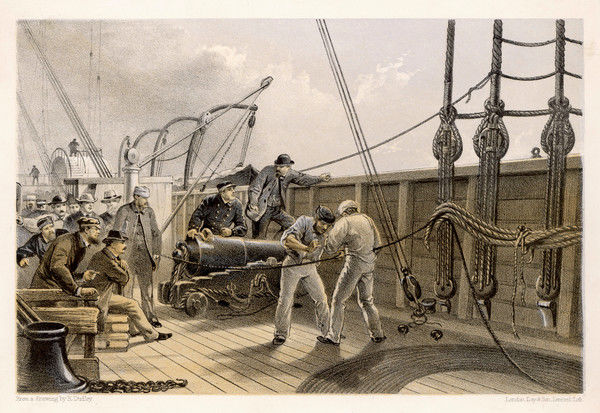 Splicing the broken cable aboard the 'Great Eastern' after the first break