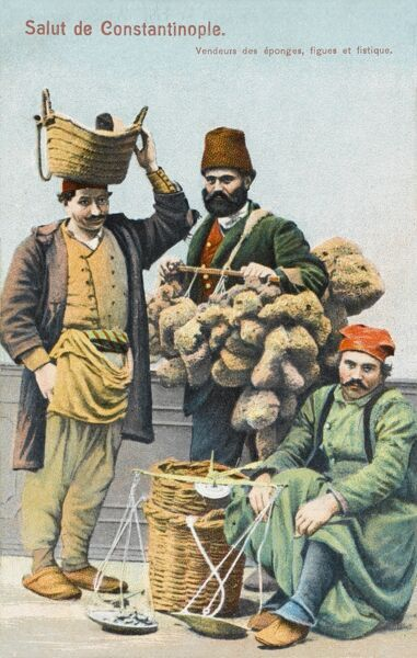 Itinerant street vendors of Sponges, Figs and Nuts in Constantinople, Turkey