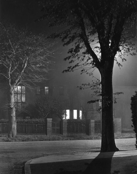 A night scene on the kind of spooky street which would make the hairs stand up on the back of your neck
