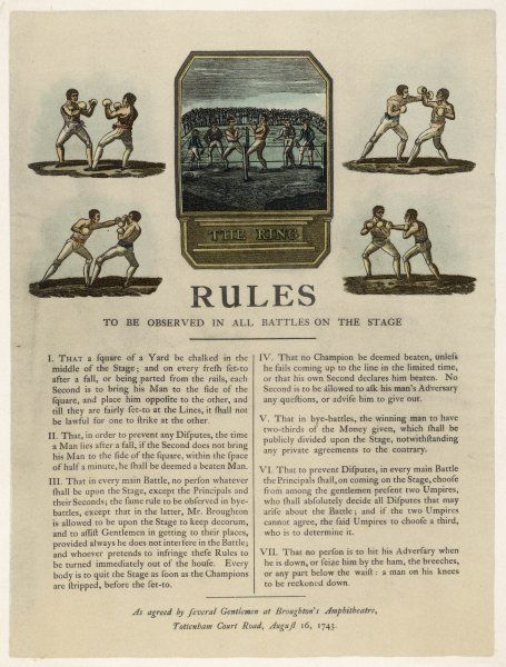 The first rules of boxing, published August 16th, 1743