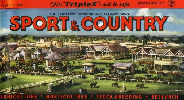 Nameplate for The Illustrated Sporting and Dramatic News, Sport & Country magazine from 6th July 1955, featuring a colourful racecourse illustration. Date: 6th July 1955