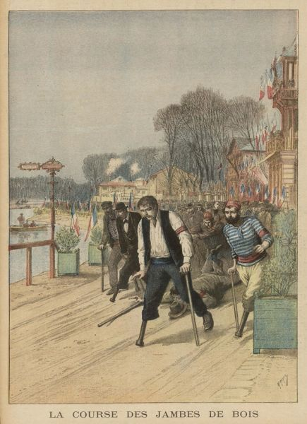 One-legged men race at Nogent- sur-Marne, making quite a noise, one would think