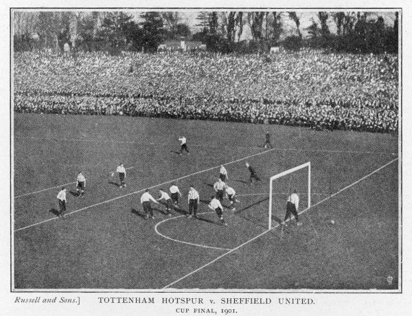 TOTTENHAM HOTSPUR Vs SHEFFIELD UNITED. FA Cup Final 1901. Tottenham score in front of 110,000 people at Selhurst Park