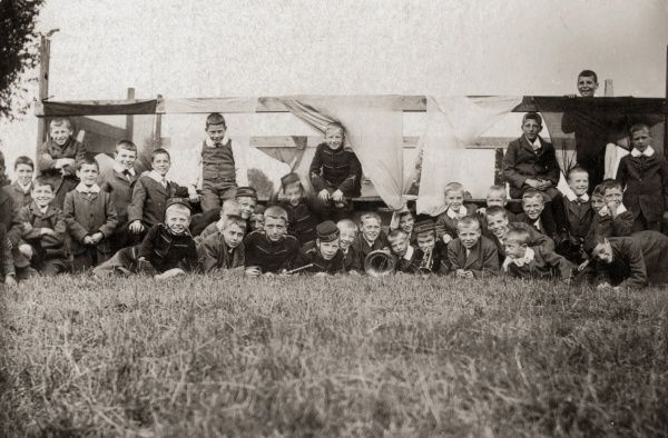 A group of boys, including some uniformed band members, at the Countesthorpe cottage homes in Leicestershire on their sports day in 1919. The homes were opened by the Leicester Union in 1884 to house pauper children away from the workhouse