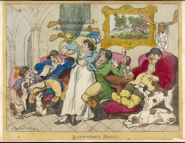 SPORTSMAN'S HALL - A domestic scene in a hunting household - while the lady of the house performs on the hunting-horn, her menfolk drink and sing and the hounds wait patiently