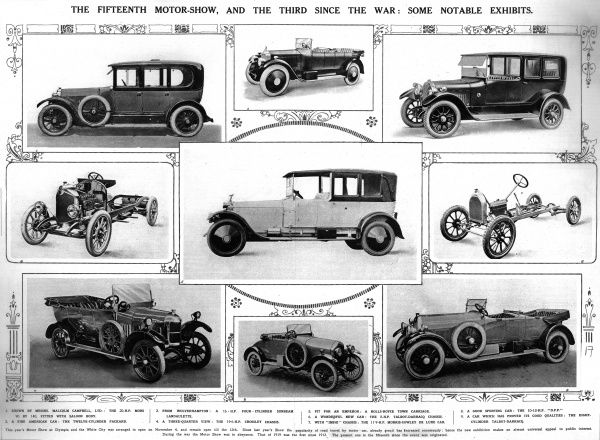 Spread showing photographs of some notable cars from the 15th Olympia Motor show in 1921