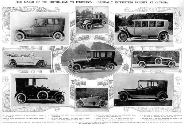 Spread entitled 'The march of the motor car to perfection: unusually interesting exhibits at Olympia', showing various car exhibits at the 1913 Olympia motor show