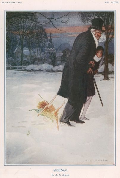 A scene of a winter sunset showing an elderly gentleman walking with his granddaughter across a snow covered field