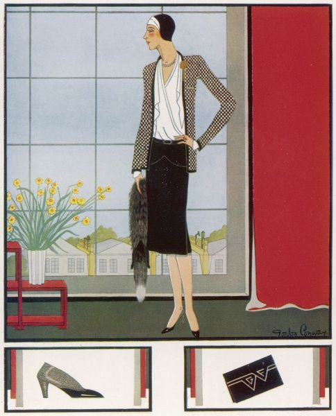 A fashion illustration by Gordon Conway of an elegant black and white woollen suit worn with a silk shirt