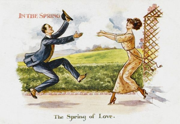 Two young lovers almost literally spring into each others arms, eager as they are, to embrace - in the Spring