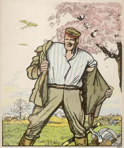 'AUF GEHT'S !' As the trees blossom, the Germans prepare for their Spring Offensive Date: 1915