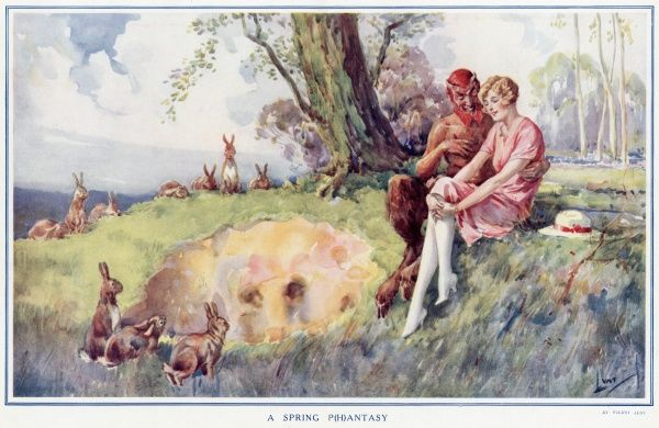 Drawing on a popular theme of the 1920s, a rather sexually rampant looking faun with horns, disturbing red hair and beard and huge hairy legs ending in cloven hooves, sits with a virginal looking blonde girl, her white stockinged legs and pink