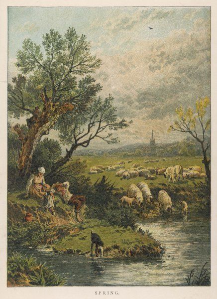 An idyllic springtime scene, with a young couple and their little girl relaxing under a tree and a sheepdog, sheep and lambs drinking from a river