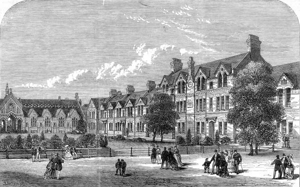 Engraving showing the exterior of Spurgeon's Orphanage, Stockwell, London, 1869