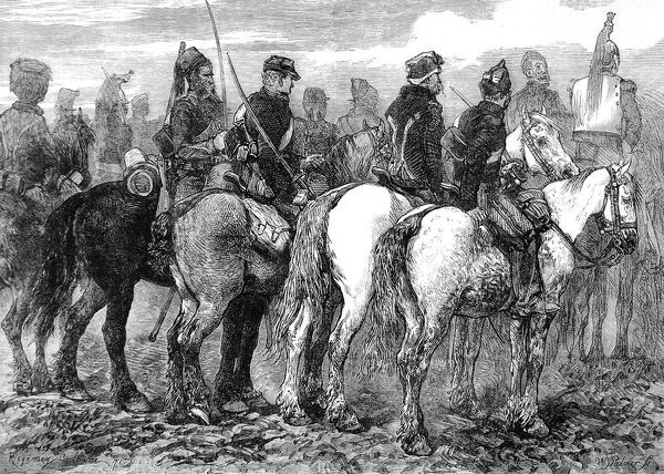 Illustration showing a squadron of General Chanzy's cavalry during the Franco-Prussian War of 1870-1. At the end of January 1871 General Chanzy was utterly defeated by the Prussians at Le Mans, losing 10,000 men