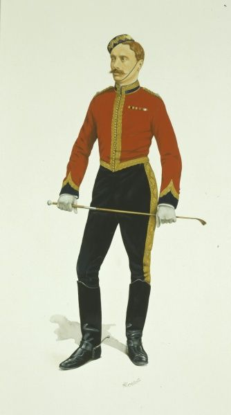 Squadron Sergeant Major - 5th Royal Irish Lancers (circa 1890). Medal ribbons worn: Egypt Medal (1882-89) and Khedives Star (1882-91). The actual medals are not worn with the 'stable dress', only the ribbon. Painting by Malcolm Greensmith