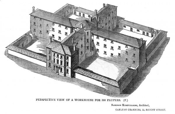 Perspective view of the model 'square' workhouse for 300 inmates, design by Sampson Kempthorne, issued by the Poor Law Commissioners