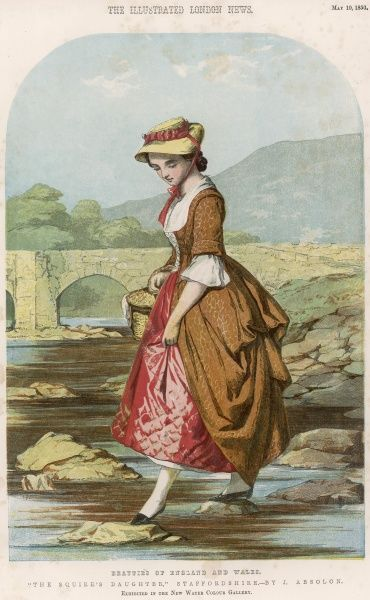 The Squire's Daughter, Staffordshire, by J. Absolon, from the 'Beauties of England and Wales&#39