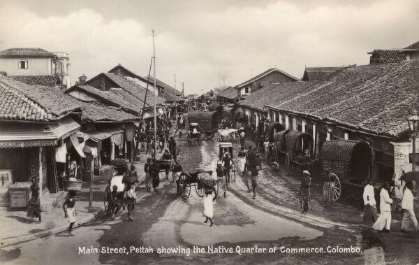 Sri Lanka - Main Street at Pettah with local shops Date: 1932