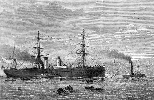 Engraving showing the French Trans-Atlantic Company's steamship 'Amerique', which was one of the quickest trans-atlantic steamers of the time, 1874