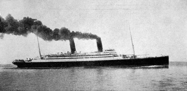 Photograph of the Cunard turbine steamer 'Carmania', built in 1905 by the John Brown Shipyard of Clydebank