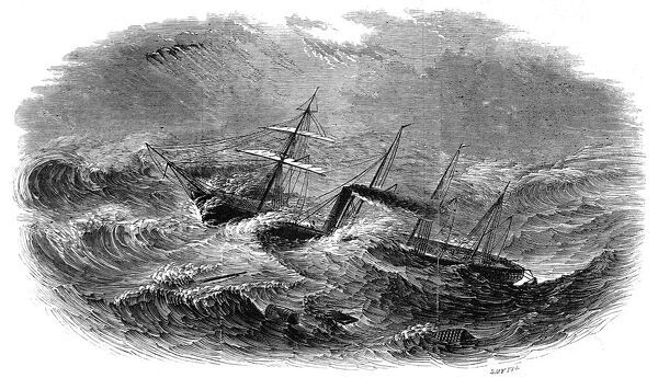 Engraving showing the Steamship 'Great Western' being struck amidships in a gale during a crossing from Liverpool to New York in 1846