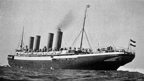 Photograph of the stern of the North German Lloyd Liner 'Kaiser Wilhelm der Grosse' at sea, 1900. This liner was built by the Vulcan Shipyards at Stettin with the aim of winning the Blue Riband. Launched in 1897, by the Kaiser himself