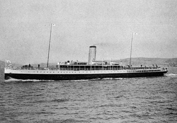Photograph of the Turbine Steamer 'Kingfisher', built in 1906 by Messrs. Denny of Dumbarton for the General Steam Navigation Company. She was reputed to be the first turbine passenger steamer operating on the Thames, running a service between London