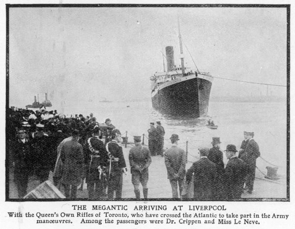 The ocean liner SS Megantic arriving at Liverpool to officials and a crowd of people. The Queen's Own Rifles of Toronto who were taking part in army manoeuvres were on board, together with two notorious passengers, Dr Crippen and Ethel Le Neve