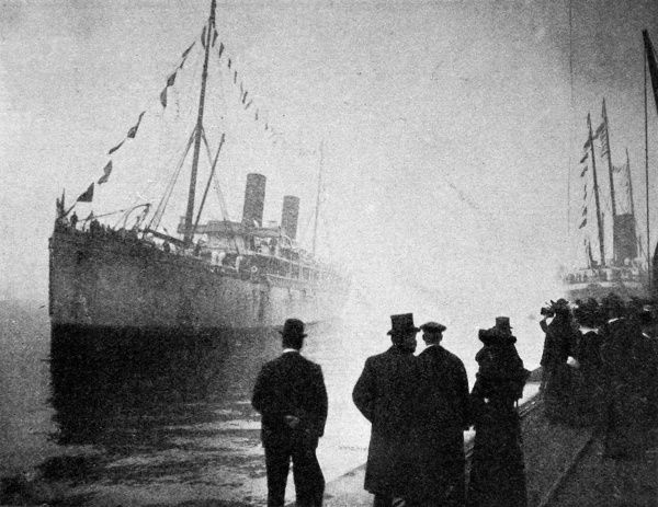 Photograph of the SS 'Norman' arriving at Ocean Quay, Southampton, 14th March 1903. Joseph Chamberlain, Colonial Secretary, was on board the 'Norman' arriving back from a foreign tour