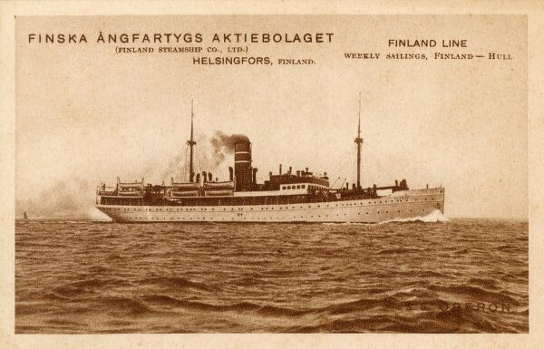 SS Oberon of the Finland Steamship Company - weekly sailings from Helsingfors (Helsinki) to Hull, England Date: circa 1910s