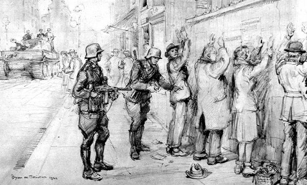 Illustration showing a German SS Patrol searching Polish civilians, for weapons and documents, in a Warsaw street, 1944